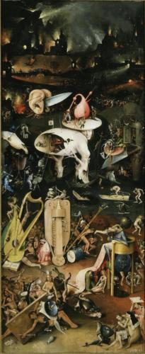 16- Musical Hell (the right panel)from the Graden of Earthly Delights by Hieronymus Bosch, 1503. Oil on oak panel, 220x195 cm. Museo del Prado, Madrid, Spain.