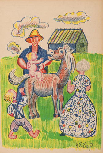 7-Henry Heerup, Untitled, illustration for Jens August Schade's Fun in Demark 1945