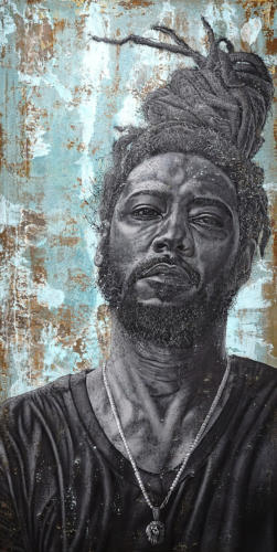 7-Teddy by Alfred Conteh, Two Front Series. Acrylic, Atomized Copper Dust and Atomized Steel Dust on Canvas. 73 x 37.5