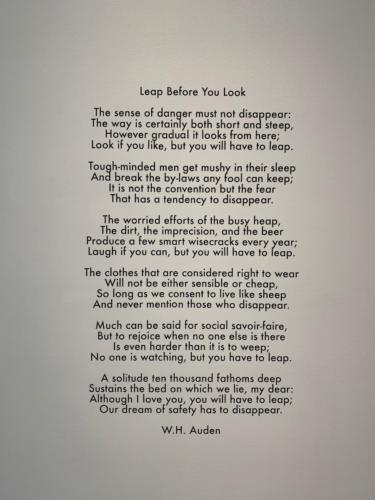 8-W.H.Auden, Leap before you look