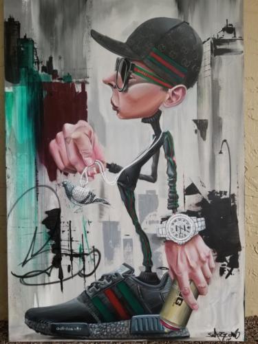 Acrylic on canvas, 2018 Smog-One