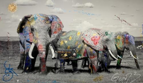 Amboseli, Elephant Group, by Arno Elias. Hand painted Gold leaf and diamond dust 62 x 98
