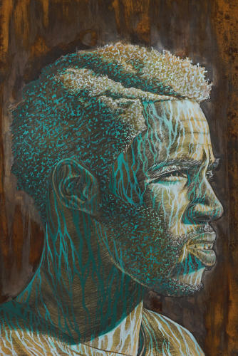 Antonio by Alfred Conteh. Acrylic, Caharcoal, Epoxy Resin and Atomized Steel Dust on Paper. 26 x 40