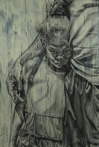 Ashley by Alfred Conteh. Charcoal and Acrylic on Paper. 26 x 40