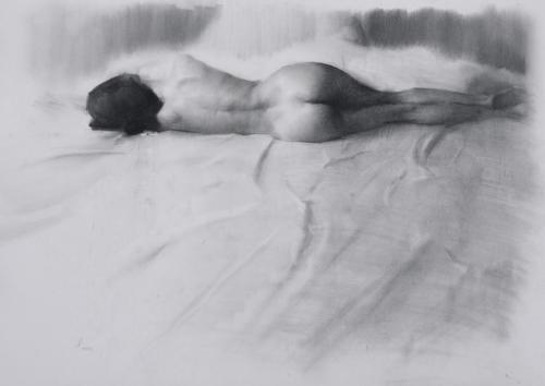 Asleep by Jesus Emmanuel Villarreal. Charcoal on paper. 17x19.