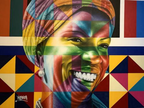 Baiana, 20-19. Spray paint & airbrush on canvas. 71 x 94