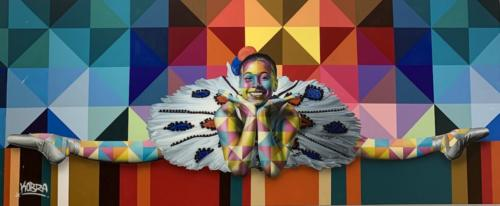 Ballerina II, 2019. Spray paint & airbrush on canvas 56 x 136