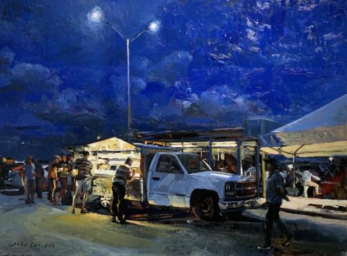 Blue Collar Waiting Lot by John Sanchez. Oil on Canvas. 30 x 40