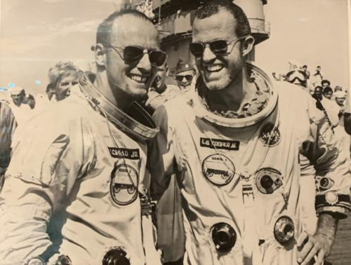 COOPER AND CONRAD ON DECK, August 29, 1965- NASA Photo Archive