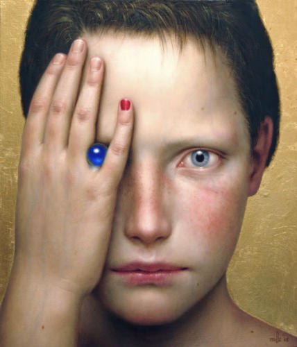 Cerulea by Dino Valls, 2005. Oil and gold leaf on wood, 28x24 cm.