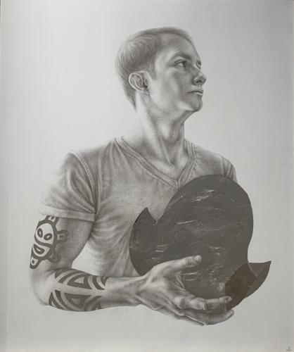 Chicagoan Hatuey by Lauren Redding. Silverpoint and Silver leaf of Hand-Gessoed Pannel. 31 x 26