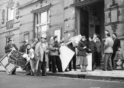 "Cobra artists bringing their work to the ""International Exhibition of Experimental Artists,"" Stedelijk, Amsterdam, 1949"