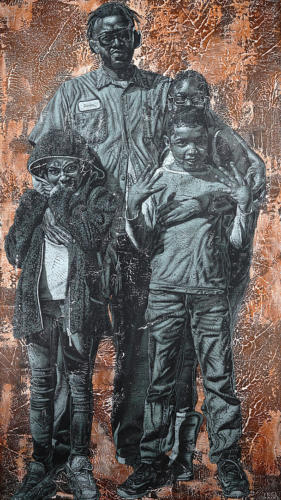 Damien and his kids by Alfred Conteh, Two Front Serie. Acrylic and Soil on Canvas.