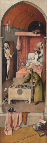 Death and Miser, right wing from the Triptyc The Wedding at Cana with Exempla by Hieronymus Bosch, 1500:1510. Oil on oak panel. National Gallery of Art, Washington, D.C., US