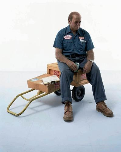 Delivery Man by Duane Hanson, 1980. Polyvinyl poly-chromed in oil, with accessories. Life Size.