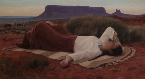 Desert Repose by Joshua LaRock. Oil on linen 21x38.