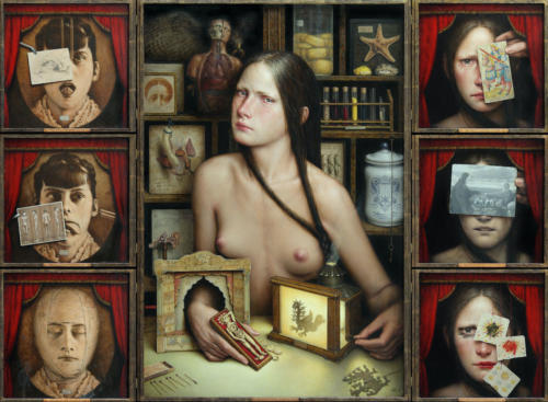 Dies Irae by Dino Valls, 2012. Oil on wood. Polyptych 7 pieces, 74x102 cm.