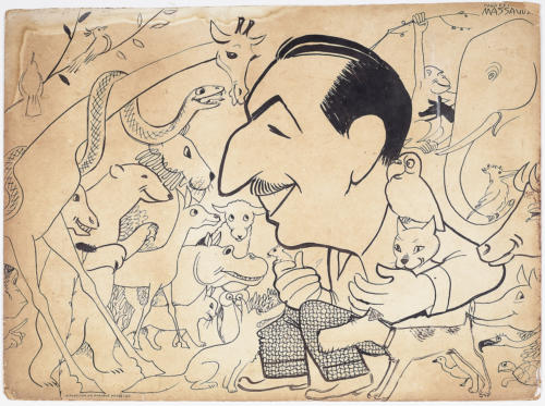 Drawing, Walt Disney, c. 1951 by Conrado W. Massaguer. Ink on board The Wolfsonian–FIU, Promised Gift of Vicki Gold Levi.
