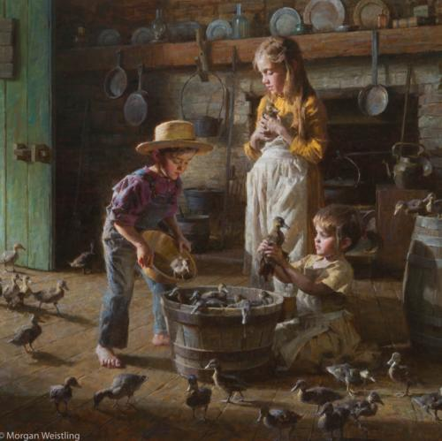 Duckling by Morgan Weistling. Oil on linen 36x36