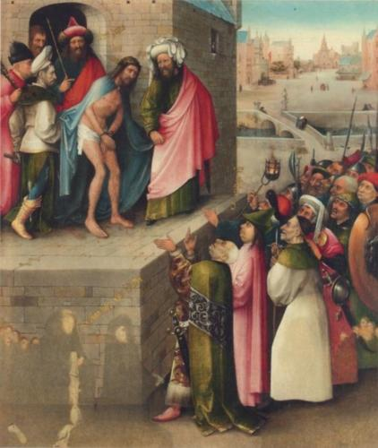 Ecce Homo with Donors by Hieronymus Bosch, 1490:1495. Oil on oak panel, 71.1x60.5 cm. Frankfurt am Main Stadel Museum.