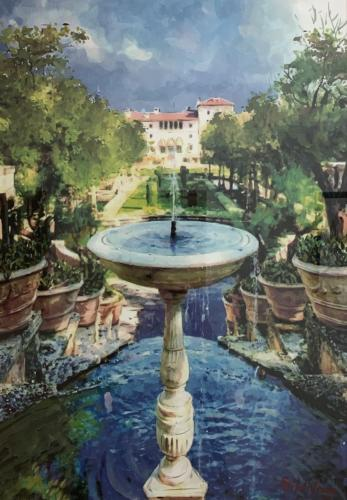 Element , Water by Epifanio Serna ( part of the serie of Vizcaya Gardens. Watercolor on Paper.