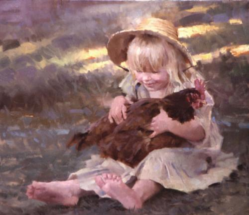 Emmie's Chick by. Morgan Weistling. Oil on linen, 12x14