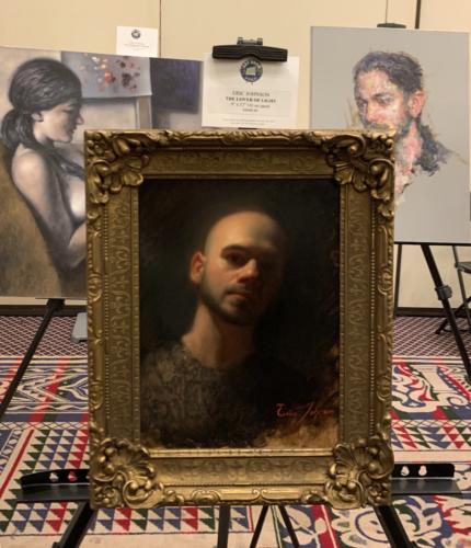 Eric Johnson painting, The Lover of Light. Oil on Panel.