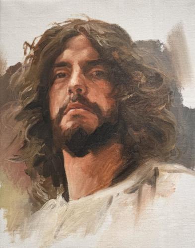 Estudy of Jesus Head by Abdon ROmero. Oil on Canvas. 12 x 15