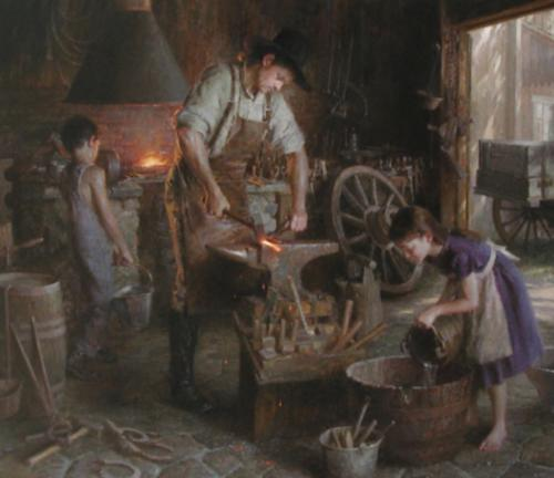 Family Trade by Morgan Weistling. Oil on canvas. WINNER OF THE TRUSTEE PURCHASE AWARD (The Autry Western Heritage Museum acquired the painting for its permanent collection)