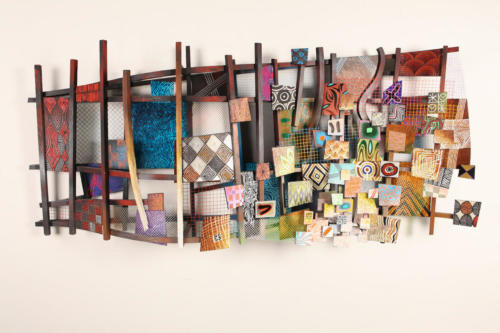 Favelas Supreme by Alfred Conteh, from Kim I'm In. Wood, Acrylic, Wire Mesh. 71 x 31 x 10.75