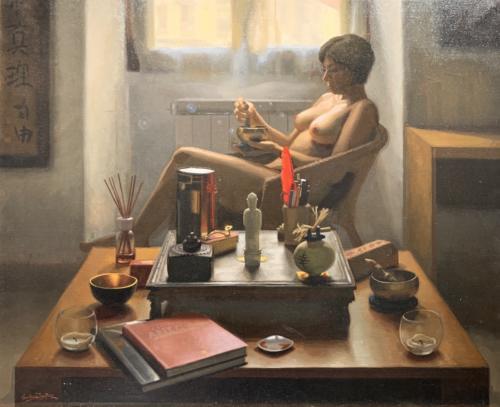 Feng Shui Girl #2 by Elkin Cañas. Oil on Canvas. 45 x 37