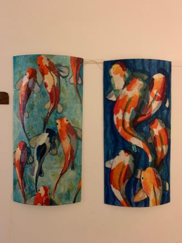 Fish Series. Mix media on Lucite with LEDs.