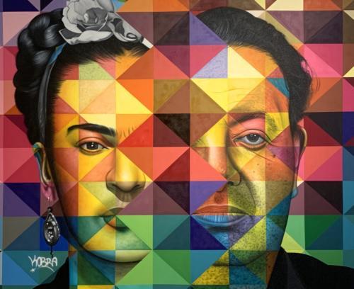 Frida & Diego, 2019. Spray paint & airbrush on canvas. 78 x 96