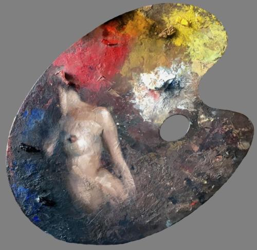 Full Palette by Jesus Emmanuel Villarreal for Foundraising Exhibition at The Salmagundi Club in New York.
