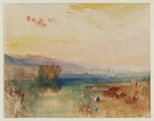 Geneva, the Jura Mountains and Isle Rousseau, Sunset, by J.M.W. Turner1841. Watercolor on paper, 9 x 11 1:2, Tate, 2019.