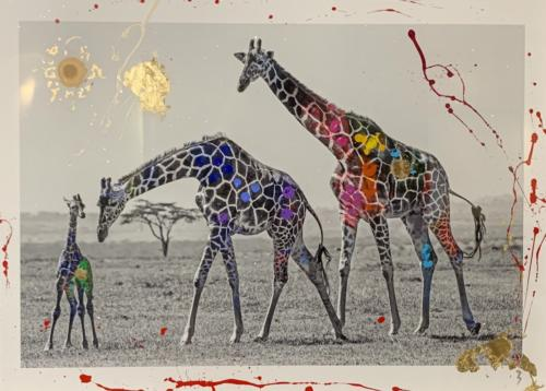 Giraffe Family by Arno Elias. Hand painted Gold leaf and diamond dust. 28 x 21