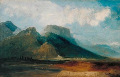 Grenoble from the River Drac with Mont Blanc in the Distance by J.M.C. Turner ca. 1802. Oil on canvas, 14 1:4 x 25 1:4. Tate, 2019