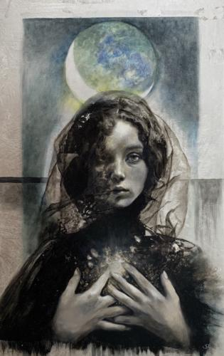 Hasmodai (Spirit of the Moon) by Sonia Hidalgo. Oil and. Silver Leaf on Wood. 15 x 24