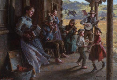He Family Porch Band by Morgan Weistling. Oil on canvas, 24x34