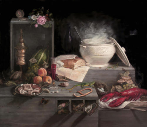 Homage Composition Anne Vallayer Coster, Clara Peeters and Rachel Ruysch, 2018. Oil on Canvas 46x 41""