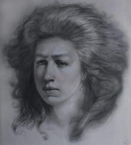 Homage to Adélaïde Labille Guiard. Pencil and Paper. 20x18