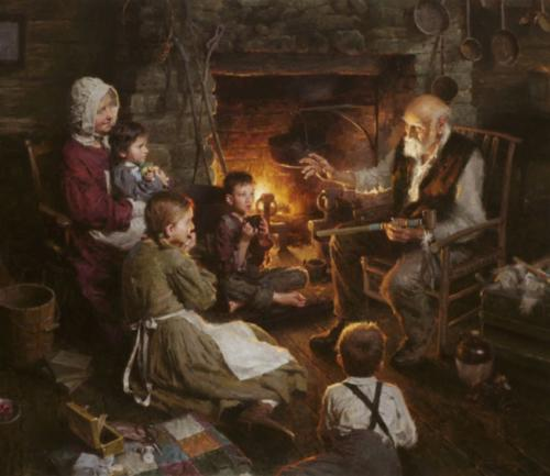 Indian Stories by Morgan Weistling. Oil on canvas. Winner of the 2008 Prix de West Purchase Award.