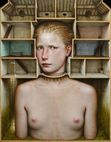 Inhabitatio by Dino Valls, 2017. Oil on wood, 60x47 cm.