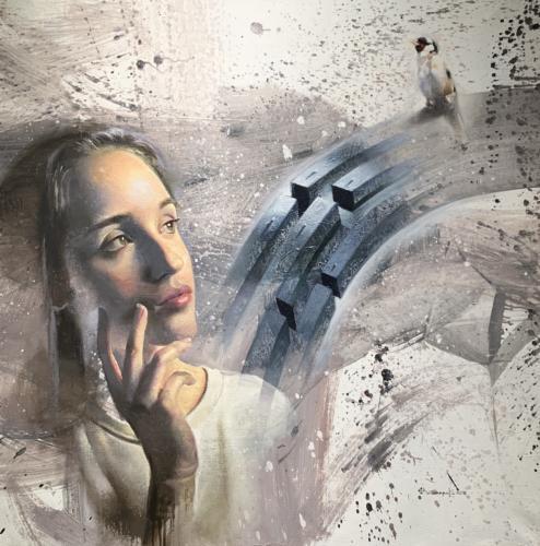 Jilguero by Yehoshua Villareal. Medium Acrylic and Oil on Linen. 40 x 40