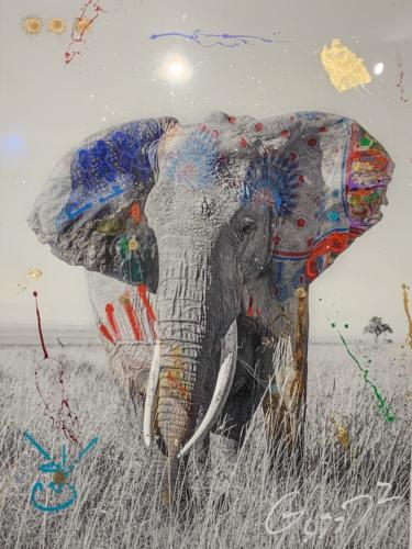 Jumbo 7 by Arno Elias. Hand painted Gold leaf and diamond dust. 48 x 72