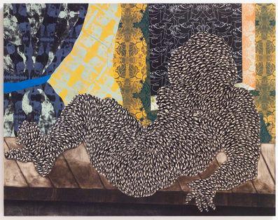 Ki moun ki rele Olympia by Didier William, 2018. Wood carving, collage, ink, acrylic on panel. 64x90.