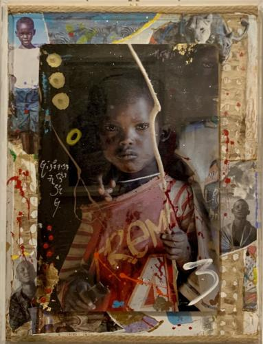 Kidjana, Tribe Kid, by Arno Elias. Mixed media inPlexi Glass. 18.5 x 24.5