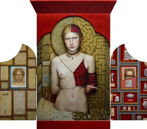 Labor Intus by Dino Valls, 2014. Oil and gold leaf on wood. Triptych, 105x120 cm