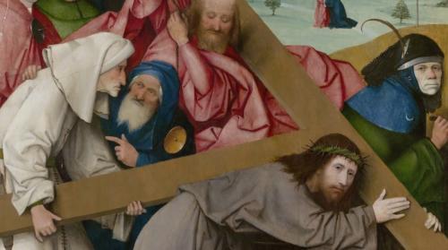 Large Christ Carring the Cross by Hieronymus Bosch, 1500. Oilon oak panel, 150x103 cm. Madrid Palacio Real (Monasterio de San Lorenzo de El Escorial)