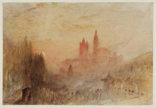Lausanne, Sunset by J.M.C. Turner, 1841–42. Graphite and watercolor on paper, 9 7:8 x 14 3:8. Tate 2019.